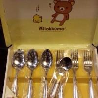 鬆弛熊1月景品—不銹鋼叉匙套裝,一盒3叉3匙。全1款。約長18cm